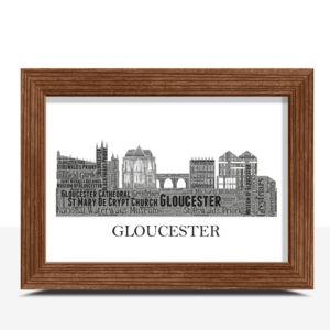 Personalised Gloucester Skyline Word Art City Skyline Prints