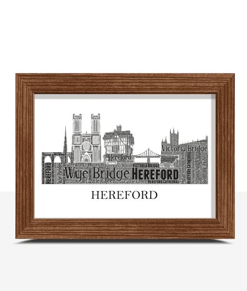 Personalised Hereford Skyline Word Art City Skyline Prints