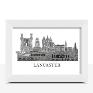 Personalised Lancaster Skyline Word Art City Skyline Prints
