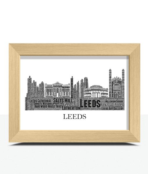 Personalised Leeds Skyline Word Art City Skyline Prints
