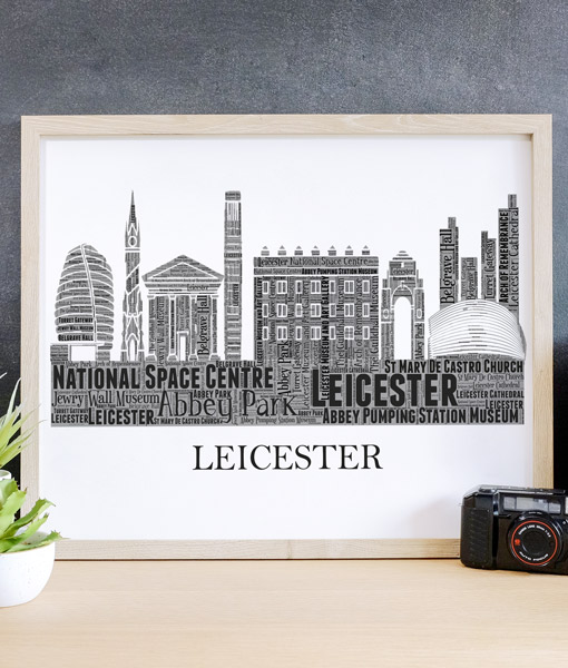 Personalised Leicester Skyline Word Art City Skyline Prints