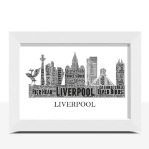 Personalised Liverpool Skyline Word Art City Skyline Prints