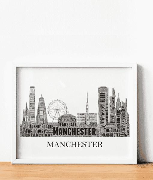 Personalised Manchester Skyline Word Art City Skyline Prints