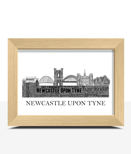 Personalised Newcastle upon Tyne Skyline Word Art City Skyline Prints