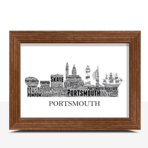 Personalised Portsmouth Skyline Word Art City Skyline Prints