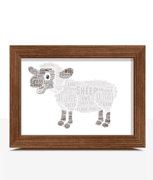 Personalised Sheep Word Art Print Animal Prints