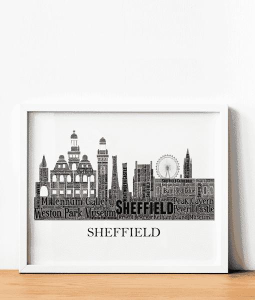 Personalised Sheffield Skyline Word Art City Skyline Prints
