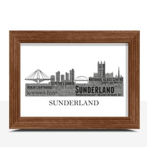 Personalised Sunderland Skyline Word Art City Skyline Prints