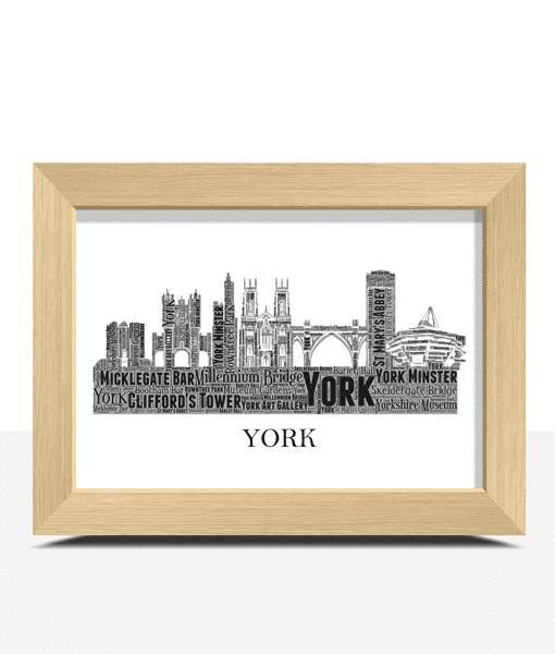 Personalised York Skyline Word Art City Skyline Prints