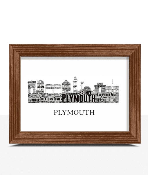Personalised Plymouth Skyline Word Art City Skyline Prints
