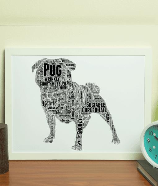 Personalised Pug Dog – Puggle Word Art Animal Prints