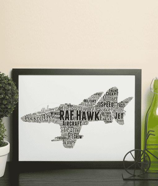 RAF Hawk Jet – Personalised Word Art Print