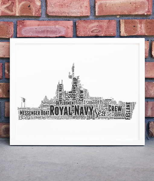 Royal Navy Messenger Boat – Personalised Word Art Gift Military Gifts