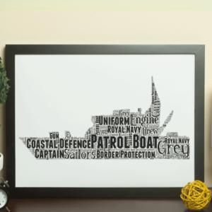 Royal Navy Patrol Boat – Personalised Word Art Gift Military Gifts