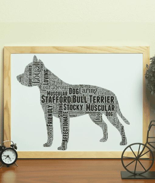 Personalised Staffordshire Bull Terrier – Staffie Dog Word Art Animal Prints
