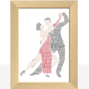 Tango Dancing Couple – Personalised Word Art Gift Dance Gifts