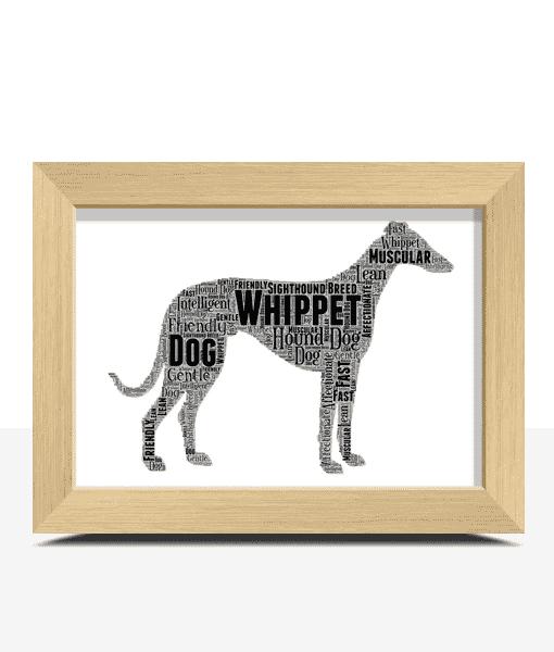 Personalised Whippet Dog – Word Art Animal Prints