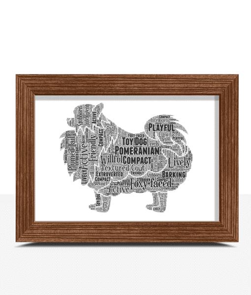 Personalised Pomeranian Dog – Word Art Animal Prints