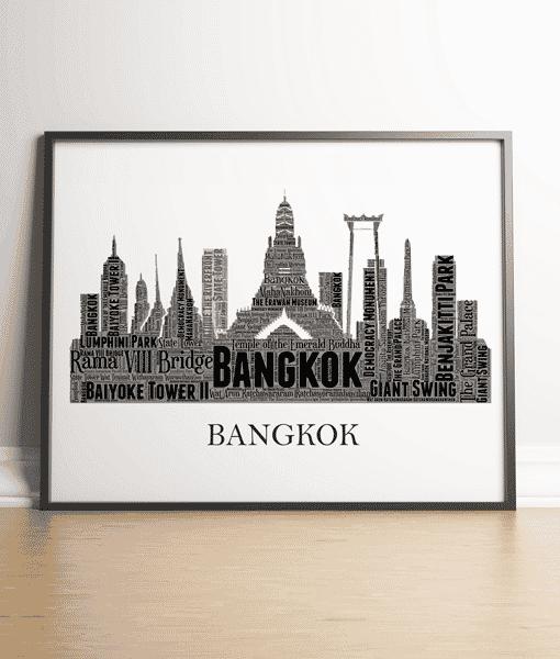 Personalised Bangkok Skyline Word Art City Skyline Prints