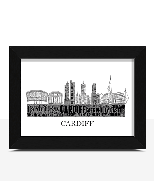 Personalised Cardiff Skyline Word Art City Skyline Prints