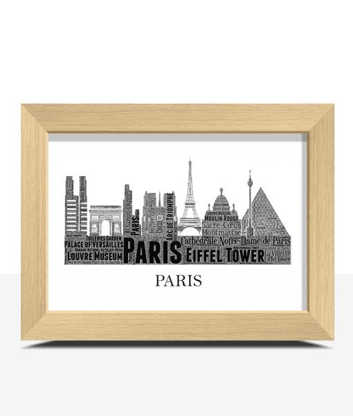 Personalised Paris Skyline Word Art City Skyline Prints