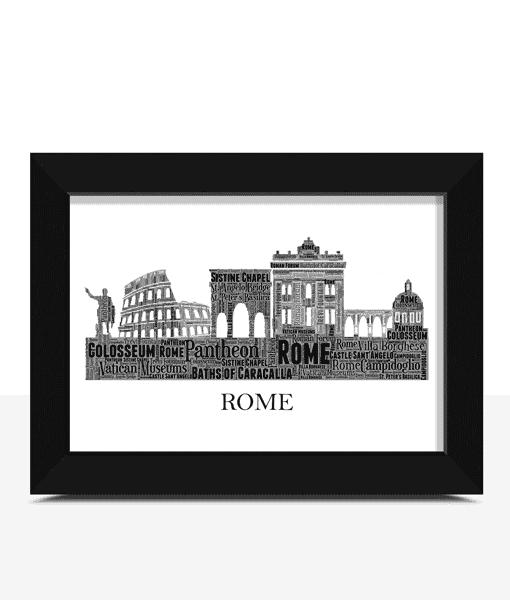 Personalised Rome Skyline Word Art City Skyline Prints