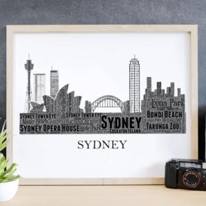 Personalised Sydney Skyline Word Art City Skyline Prints