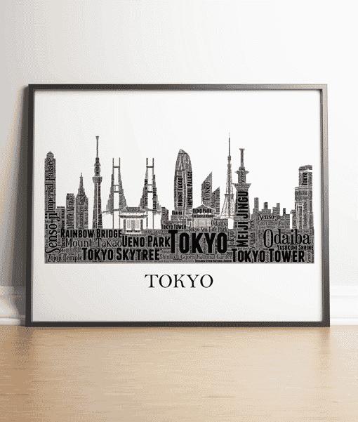 Personalised Tokyo Skyline Word Art City Skyline Prints