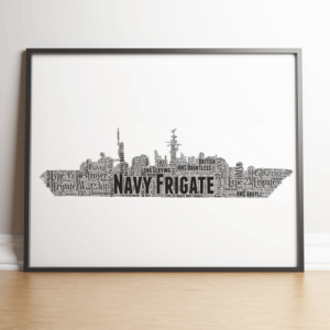 Personalised Royal Navy Frigate Ship Word Art Gift Military Gifts