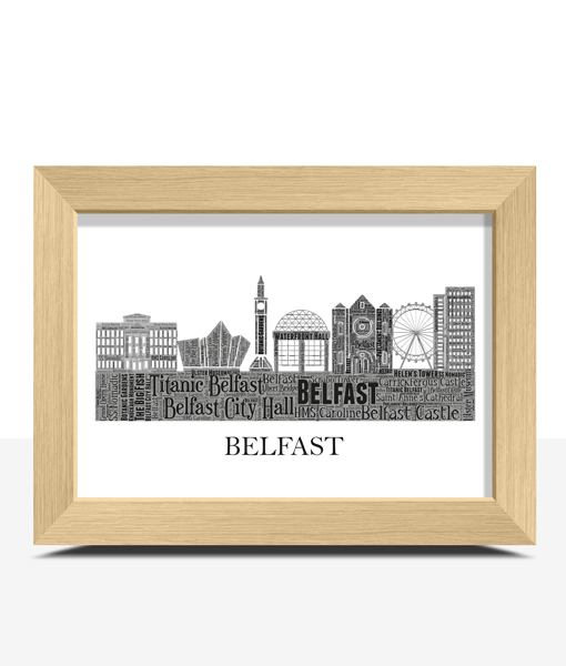 Personalised Belfast Skyline Word Art City Skyline Prints