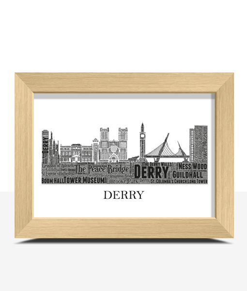 Personalised Derry Skyline Word Art City Skyline Prints