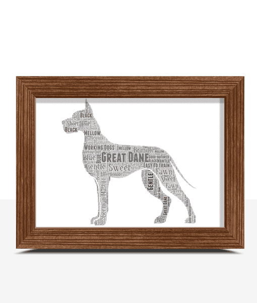 Personalised Great Dane Dog – Word Art Picture Animal Prints