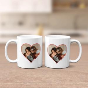 Personalised Heart Photo Mug Family