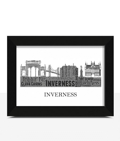 Personalised Inverness Skyline Word Art City Skyline Prints